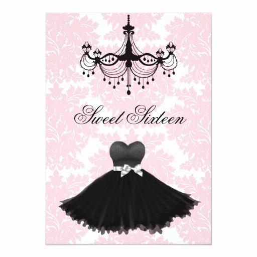 Little Black Dress Invitation Beautiful Pink Black Damask Chandelier Sweet Sixteen Birthda Card