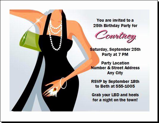 Little Black Dress Invitation Beautiful Stiletto Party Invitation