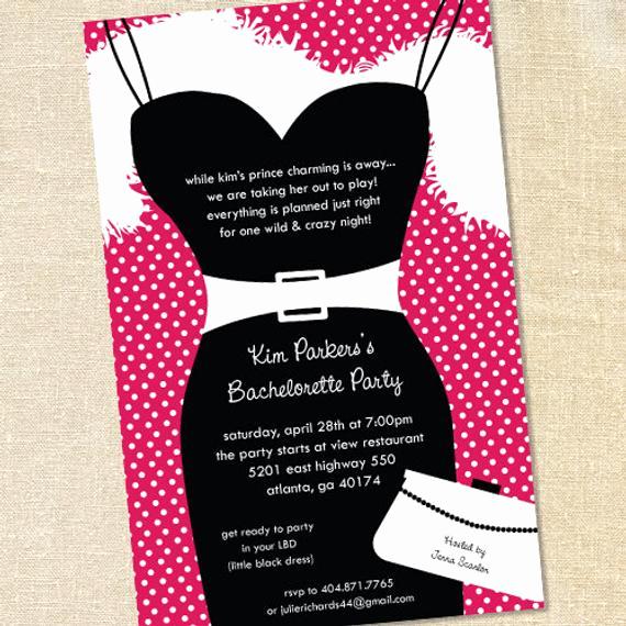 Little Black Dress Invitation Fresh Sweet Wishes Little Black Dress Bachelorette Party Invitations