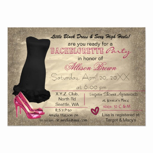 Little Black Dress Invitation Luxury Pink Gold Little Black Dress Bachelorette Invite