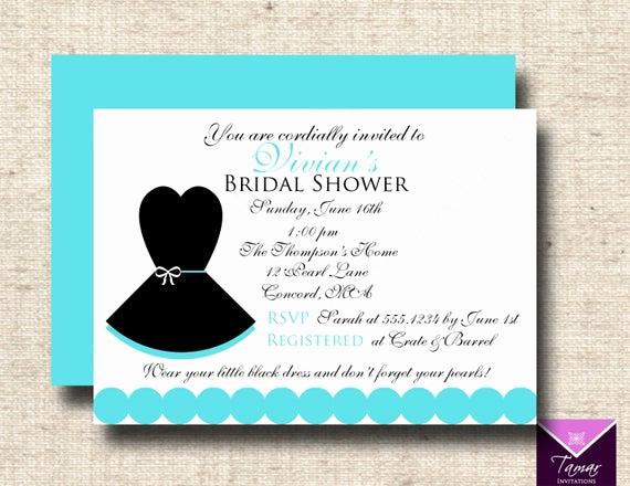 Little Black Dress Invitation Luxury Printable Breakfast at Tiffanys Bridal Shower Invitation