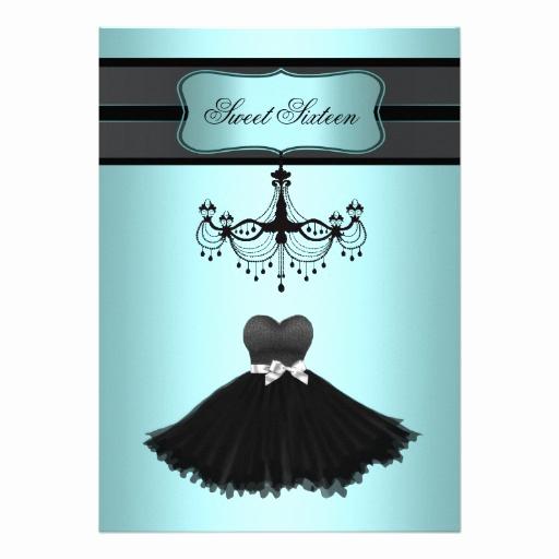 Little Black Dress Invitation Luxury Teal Blue Chandelier Sweet Sixteen Birthday Party 5x7
