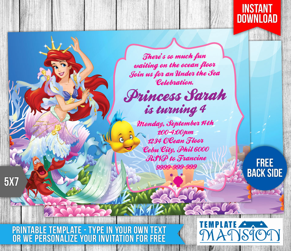 Little Mermaid Birthday Invitation Template Awesome Little Mermaid Birthday Invitation 2 by Templatemansion