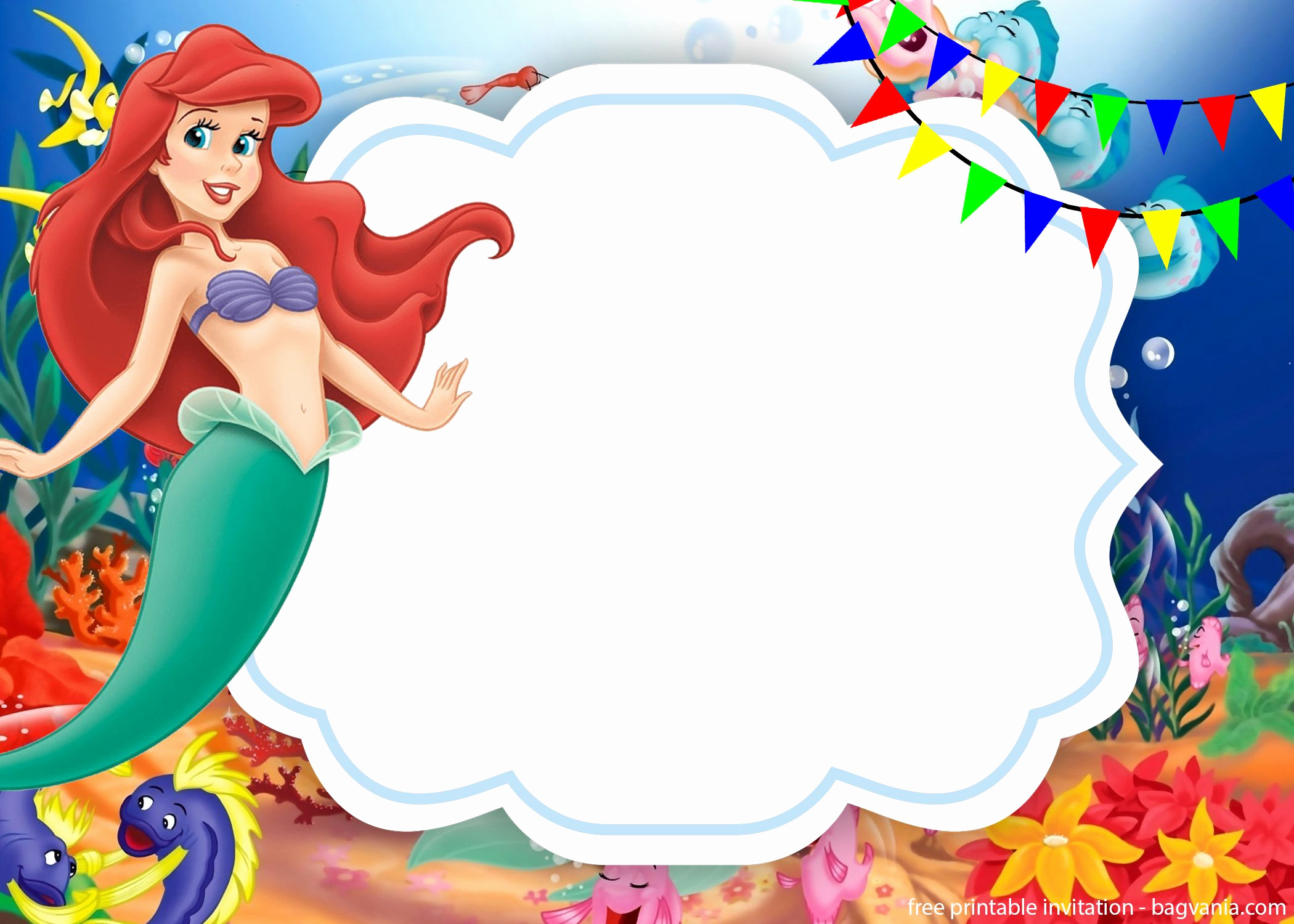 Little Mermaid Birthday Invitation Template Beautiful Free Download Ariel the Little Mermaid Invitations – Free