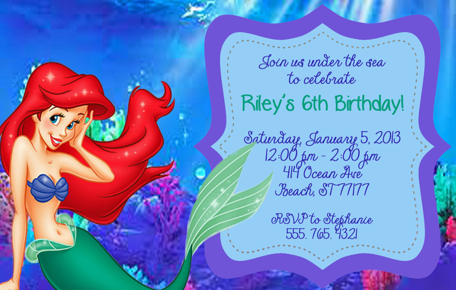 Little Mermaid Birthday Invitation Template Fresh Little Mermaid Invitation by Partypassiondesign On Etsy
