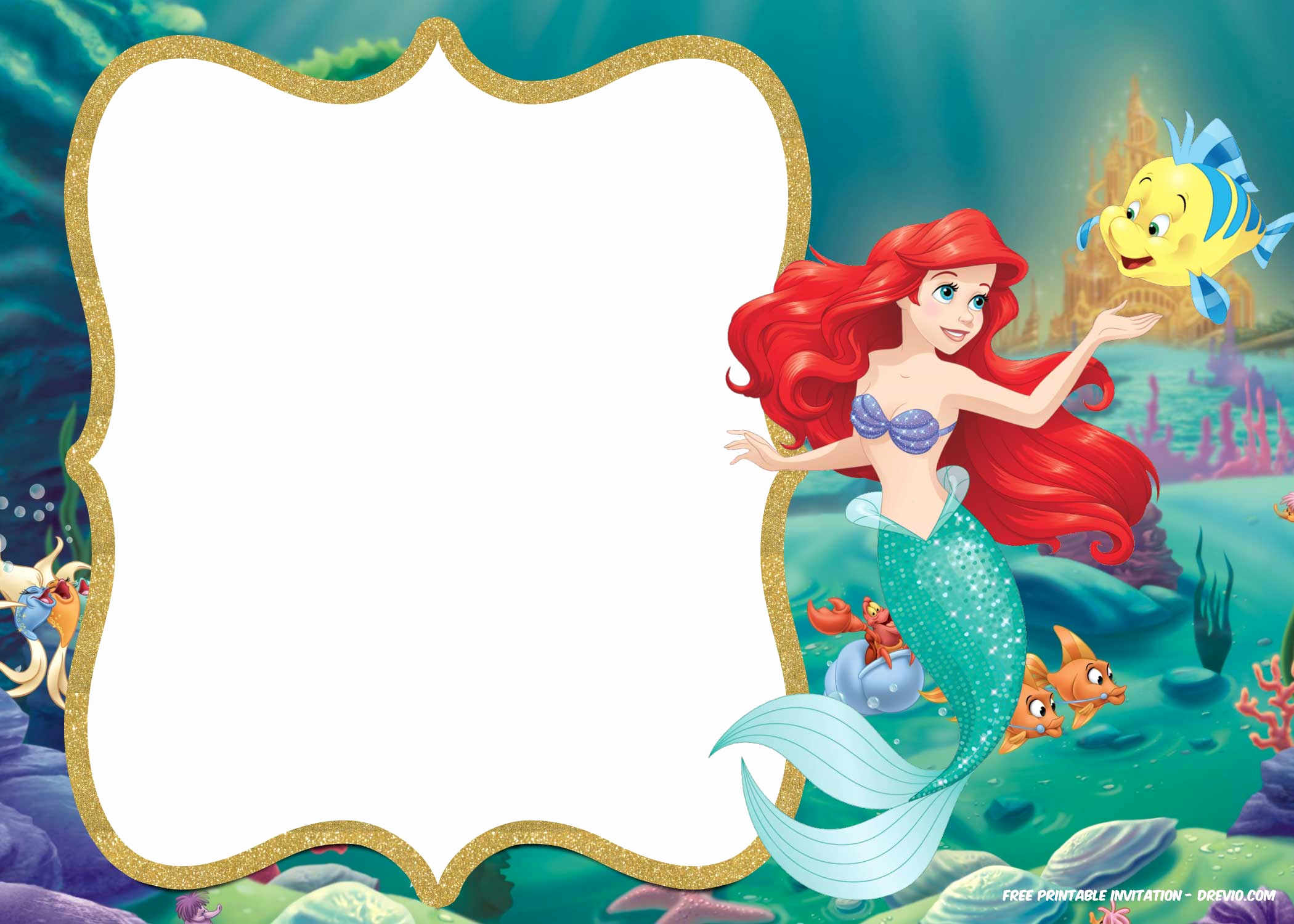 Little Mermaid Birthday Invitation Template New Free Printable Ariel Little Mermaid Invitation Template
