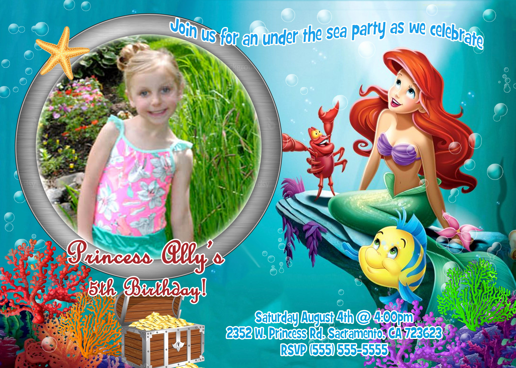 Little Mermaid Birthday Invitation Template New Little Mermaid Birthday Party Invitations