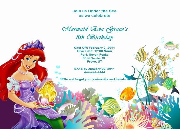 Little Mermaid Birthday Invitation Template Unique Ariel Disney Little Mermaid Free Birthday Invitation