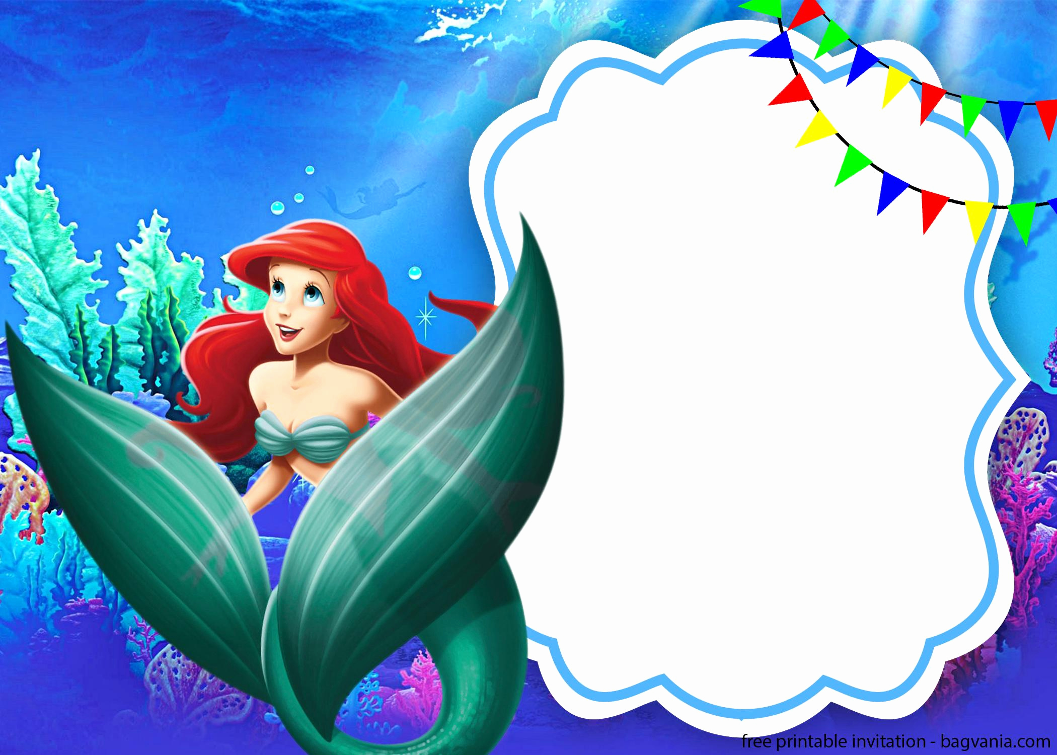 Little Mermaid Birthday Invitation Template Unique Free Ariel the Little Mermaid with Invitation