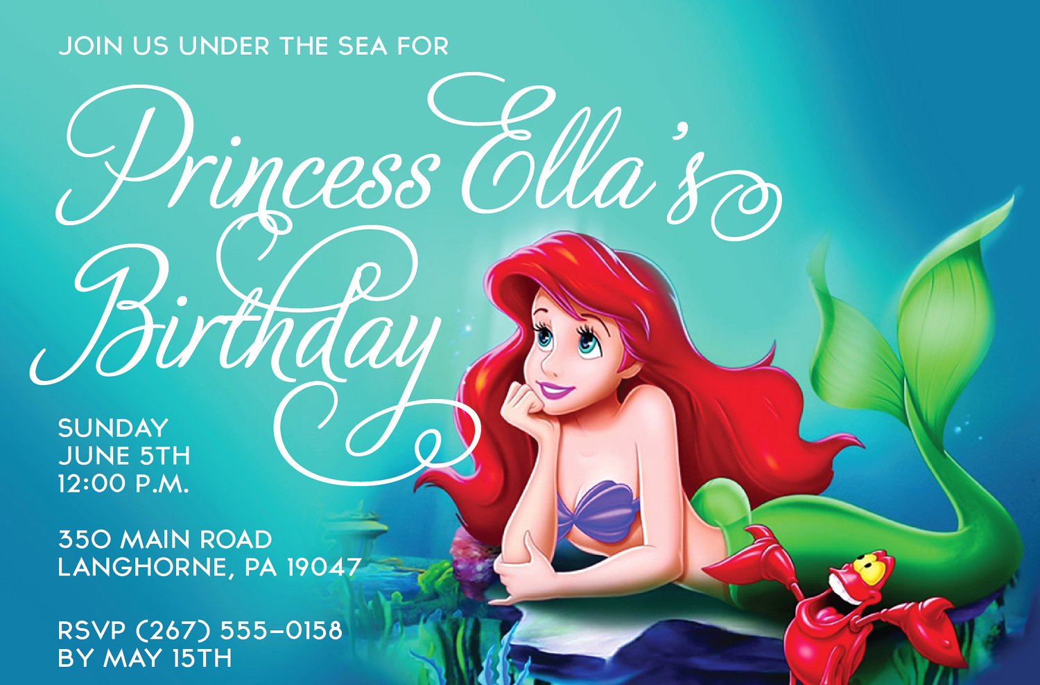 Little Mermaid Birthday Invitation Template Unique Free Mermaid Invitation Templates