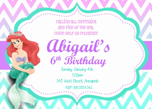 Little Mermaid Birthday Invitation Template Unique Little Mermaid Ariel Birthday Party Invitation Digital File
