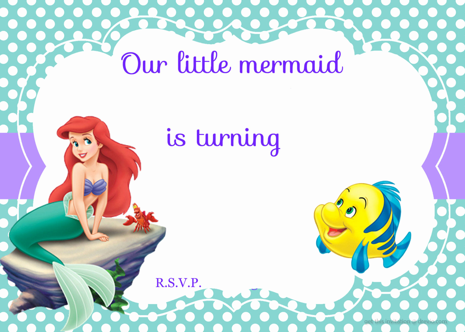 Little Mermaid Birthday Invitation Template Unique Updated Free Printable Ariel the Little Mermaid