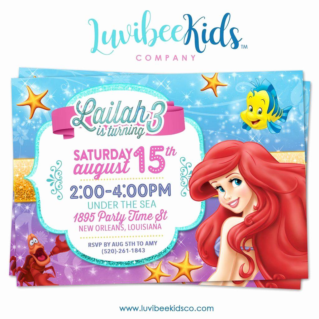 Little Mermaid Invitation Ideas Fresh Little Mermaid Birthday Invitation