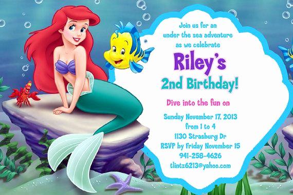 Little Mermaid Invitation Ideas Lovely Little Mermaid Free Invitation Template …