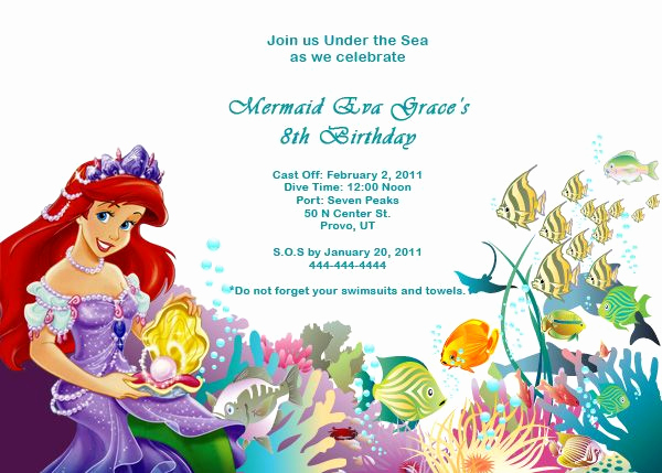 Little Mermaid Invitation Template Awesome 78 Best Images About Birthday Invitation Templates On