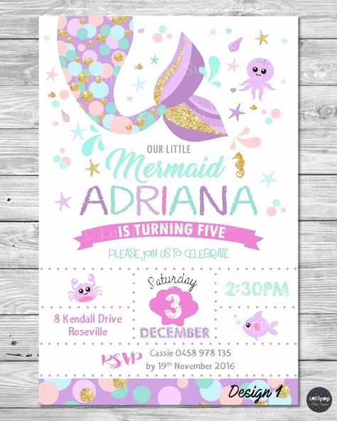 Little Mermaid Invitation Template Beautiful 23 Free Printable Birthday Invitations Downloadable