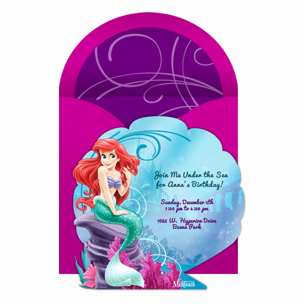Little Mermaid Invitation Template Beautiful the Little Mermaid Party Line Invitation