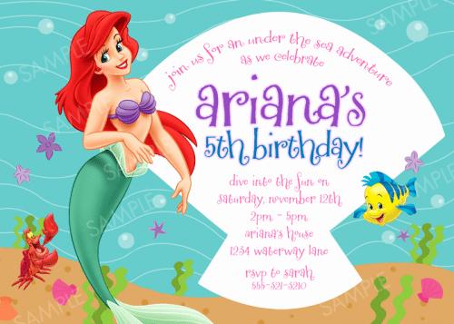 Little Mermaid Invitation Template Elegant Free Little Mermaid Party Invitation