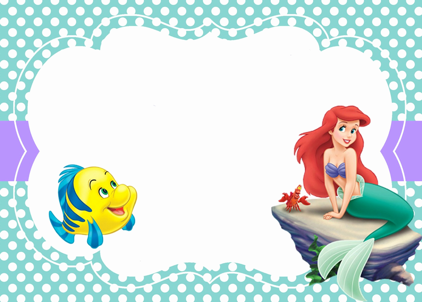 Little Mermaid Invitation Template Elegant Little Mermaid Free Printable Invitation Templates
