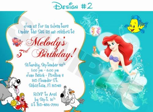 Little Mermaid Invitation Template Elegant Princess Ariel Little Mermaid Birthday Invitations – Free