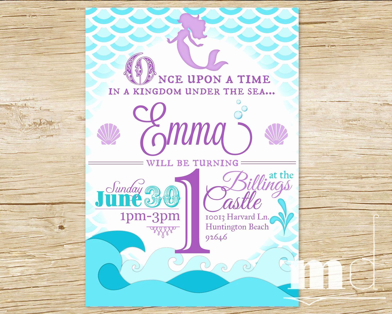 Little Mermaid Invitation Template Fresh Mermaid Birthday Party Invitation Little Mermaid by