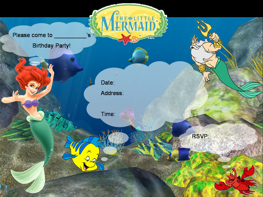 Little Mermaid Invitation Template Lovely Little Mermaid Printable Party Invitations