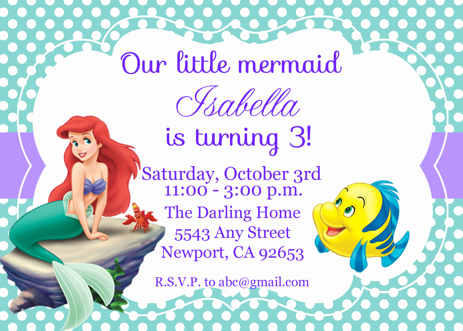 Little Mermaid Invitation Template Lovely the Little Mermaid Birthday Invitations