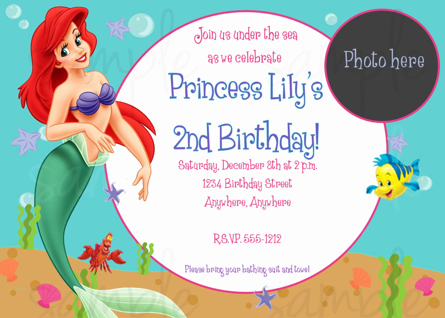Little Mermaid Invitation Template Luxury Little Mermaid Birthday Invite Template