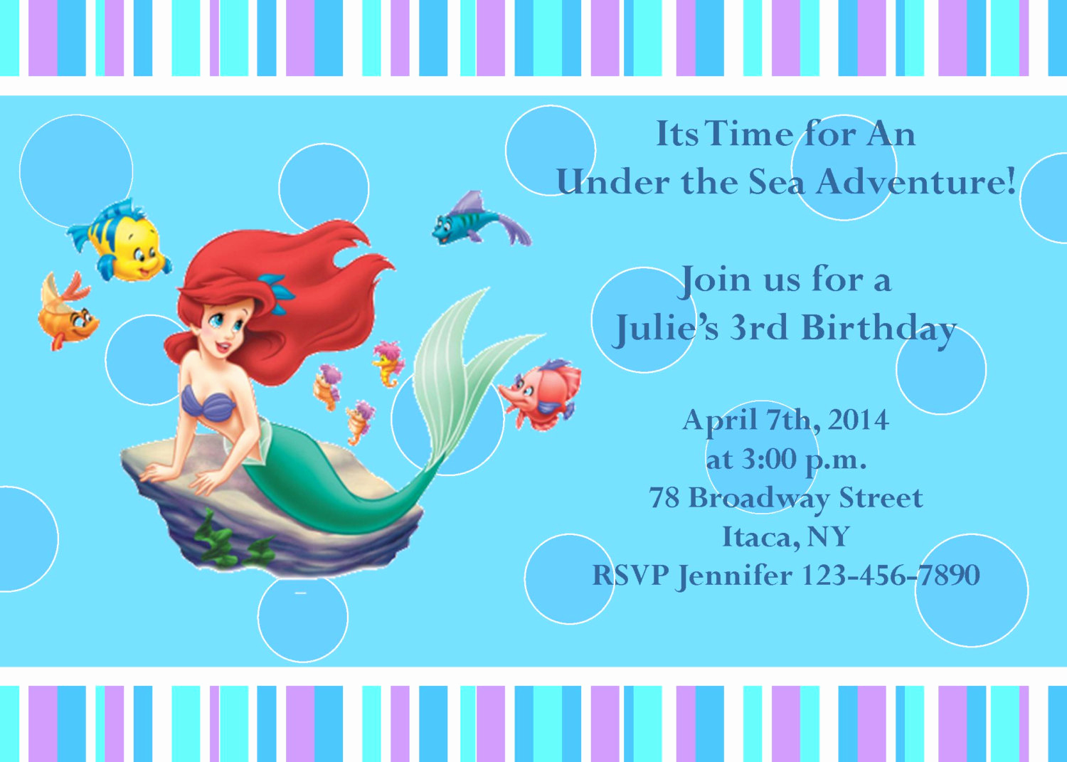 Little Mermaid Invitation Template New Girls Little Mermaid Printable Birthday Party Invitation