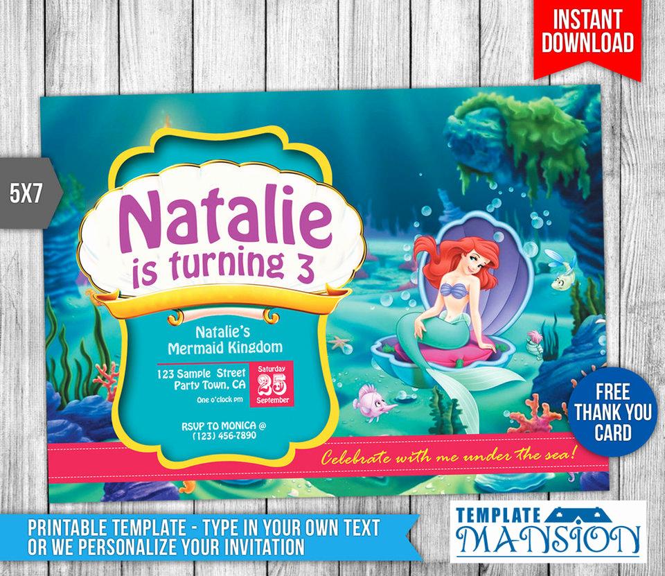 Little Mermaid Invitation Template New Little Mermaid Birthday Invitation Printable by