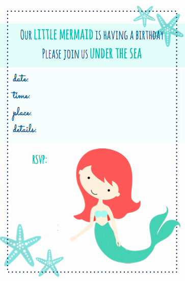 Little Mermaid Invitation Template Unique Beachy Mermaid Party