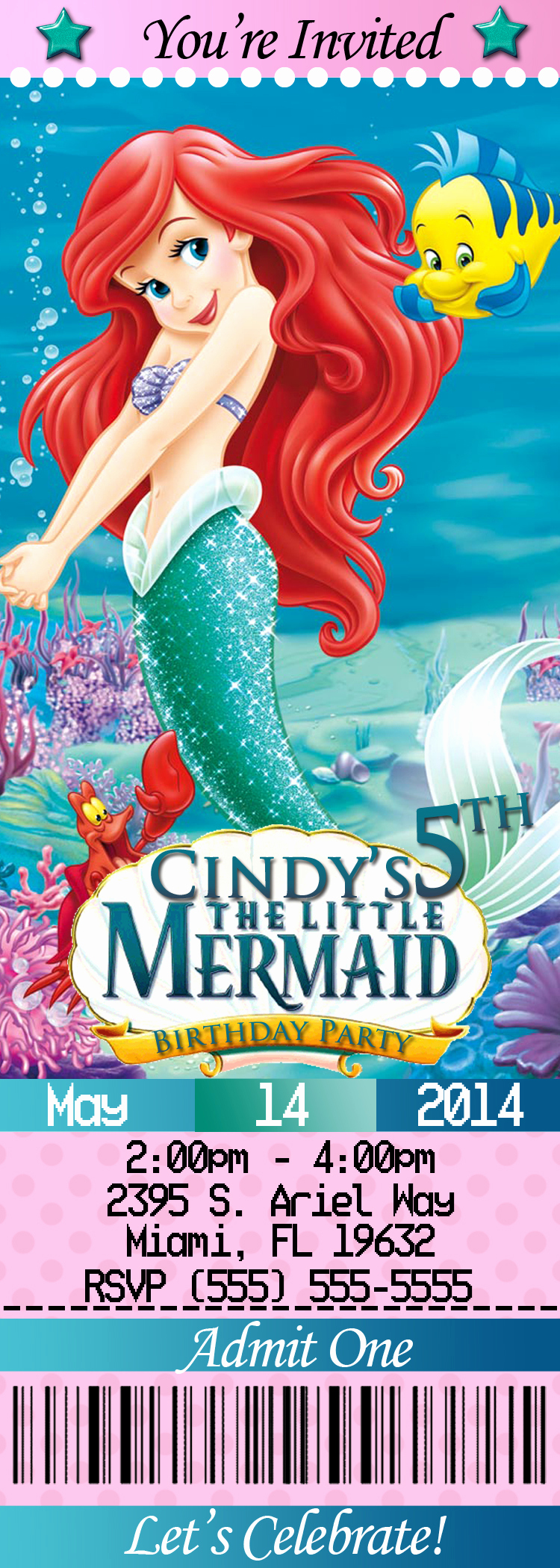 Little Mermaid Invitation Wording Awesome Little Mermaid Birthday Invitations