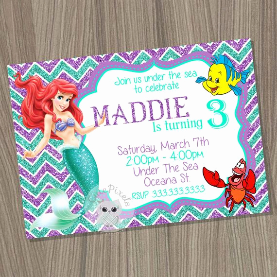 Little Mermaid Invitation Wording Awesome Little Mermaid Invitation Ariel Invitation Disney Little