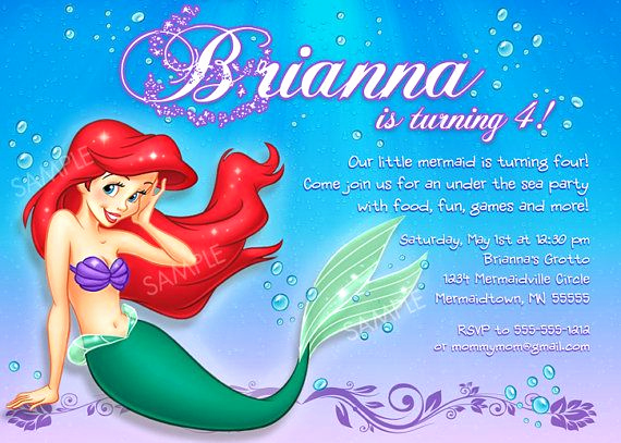 Little Mermaid Invitation Wording Beautiful Ariel Invitation for Little Mermaid Birthday Party by