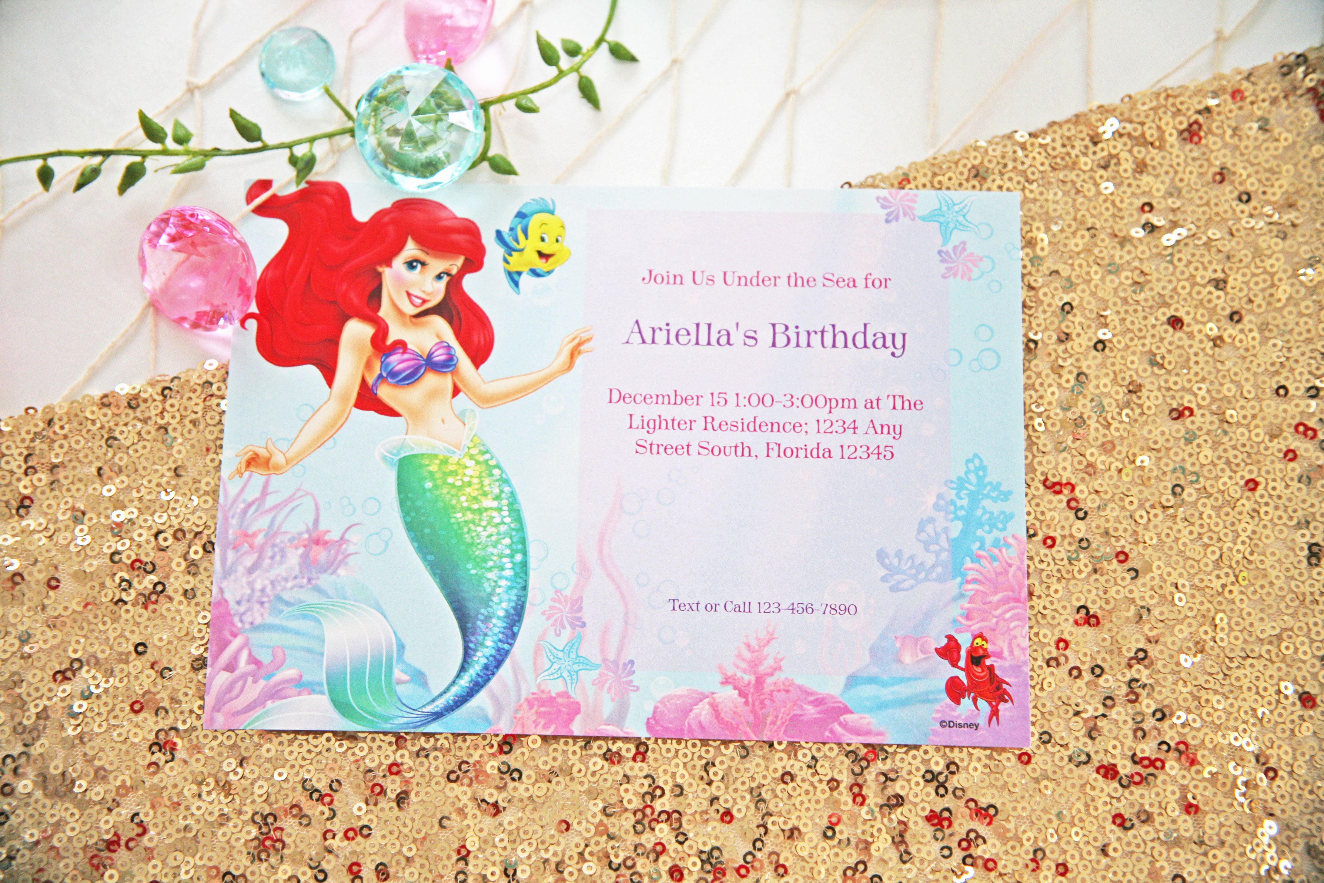 Little Mermaid Invitation Wording Beautiful Little Mermaid Party Ideas