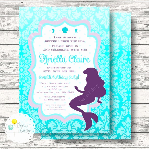 little mermaid invitation for birthday