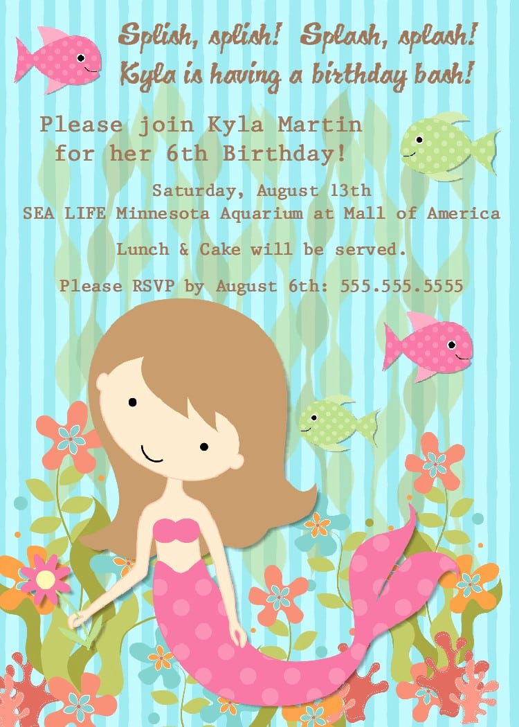 Little Mermaid Invitation Wording Elegant Free Little Mermaid Party Invitation