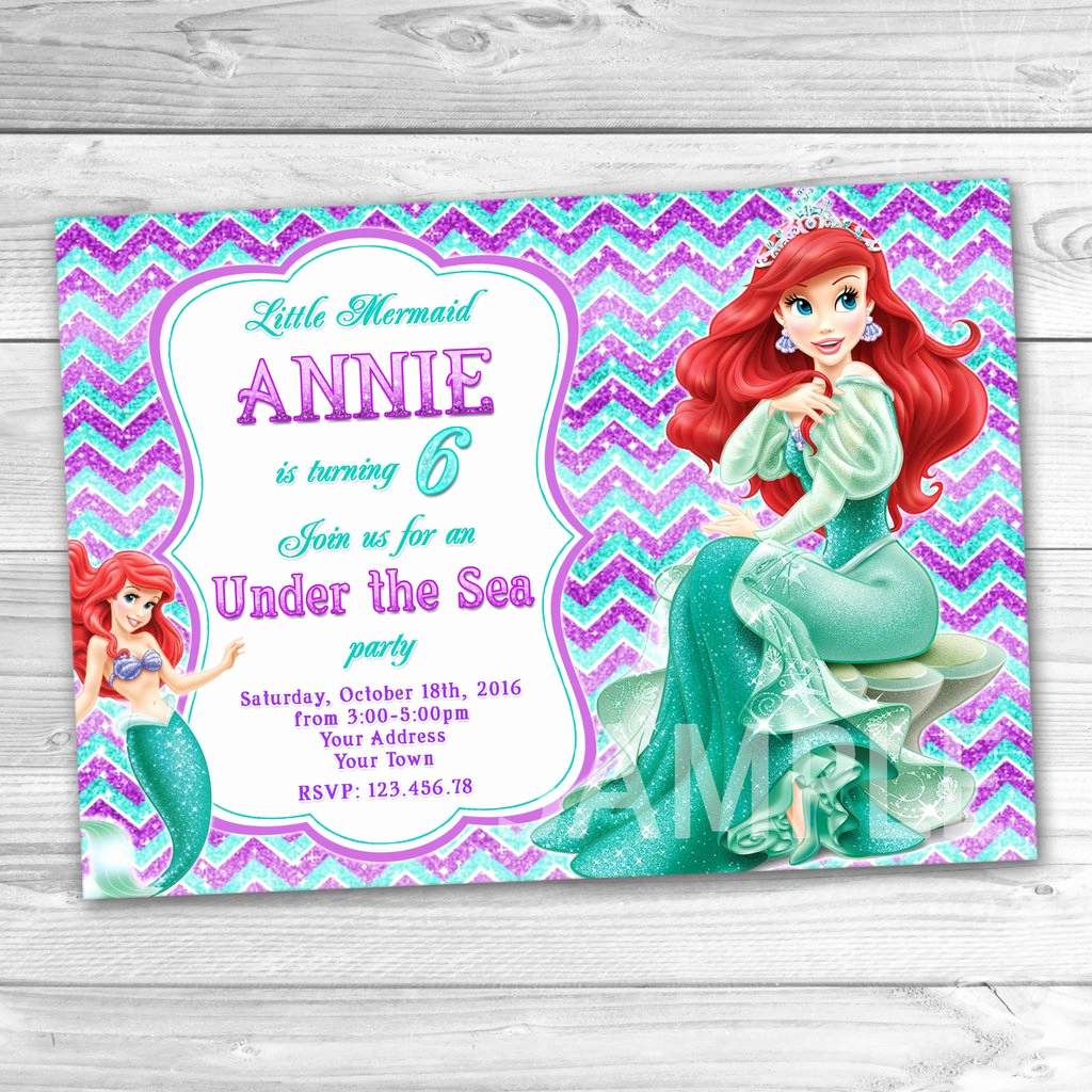 Little Mermaid Invitation Wording Fresh Little Mermaid Birthday Invitation Ariel Invitation