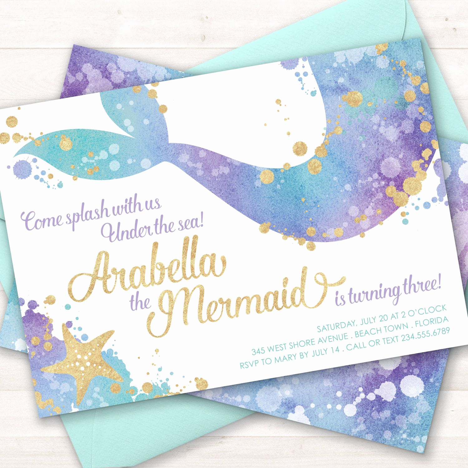 Little Mermaid Invitation Wording Fresh Mermaid Invitation Mermaid Party Invite Under the Sea