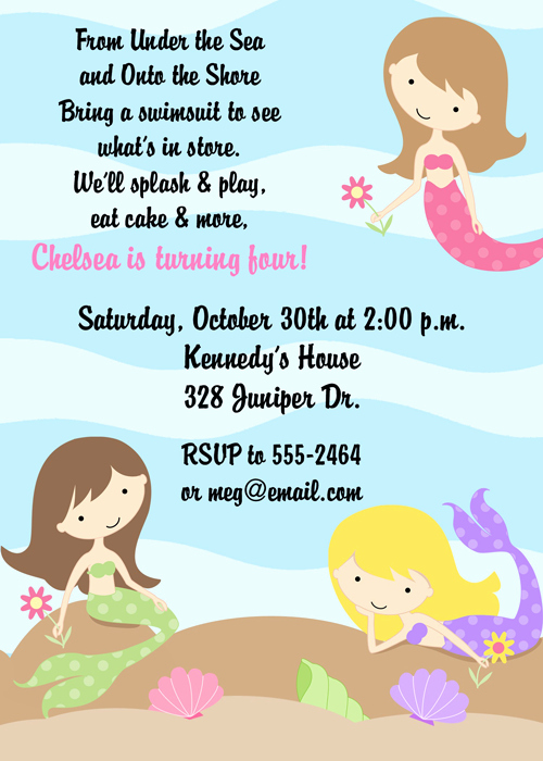 Little Mermaid Invitation Wording Fresh Under the Sea Mermaids Birthday Party Invitations