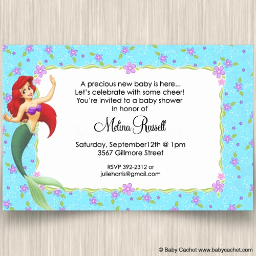 Little Mermaid Invitation Wording Inspirational Little Mermaid Ariel Baby Shower Invitations