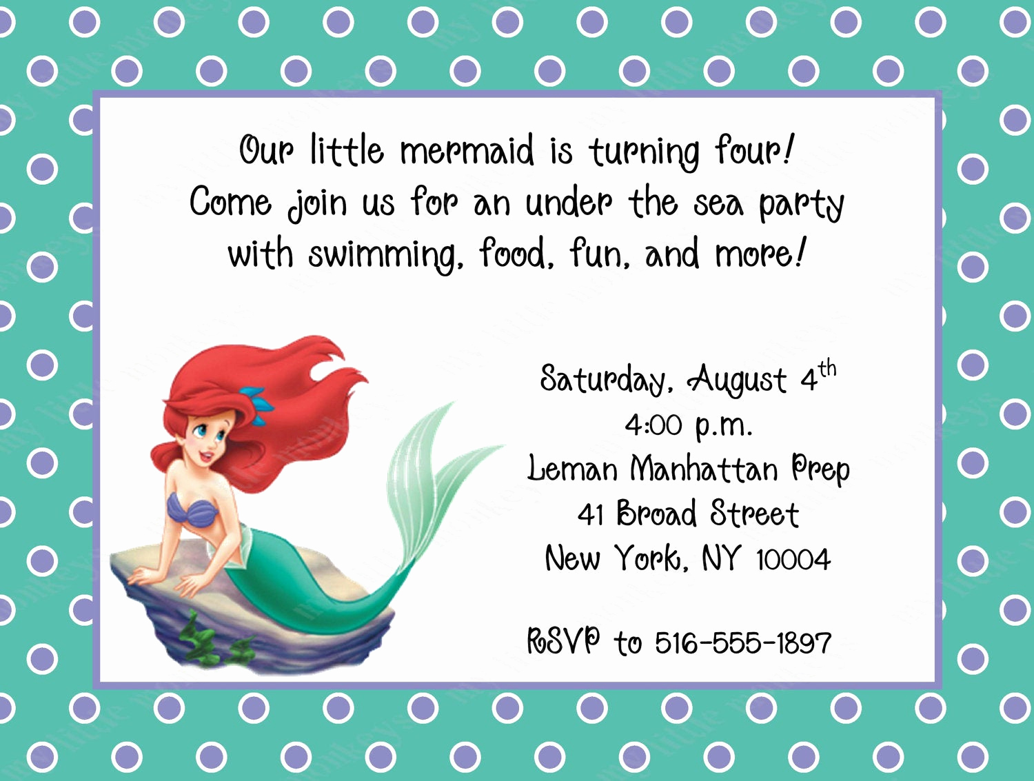Little Mermaid Invitation Wording Lovely 10 Little Mermaid Birthday Invitations with Envelopes Free