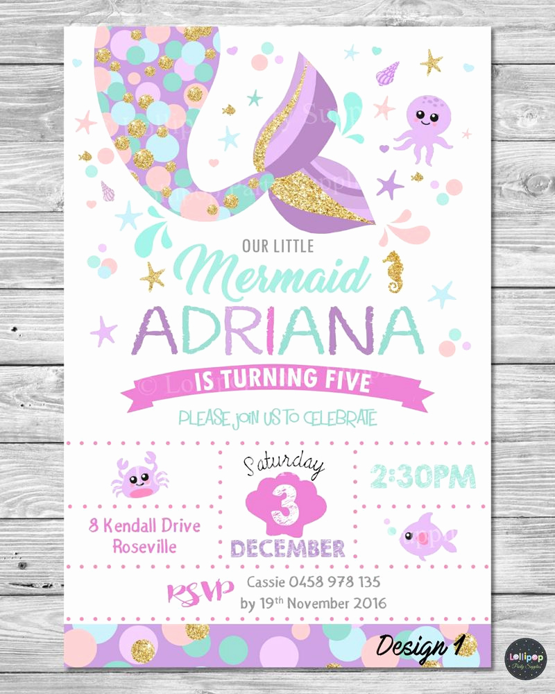 Little Mermaid Invitation Wording Lovely Details About Little Mermaid Invitations Invite 1st First