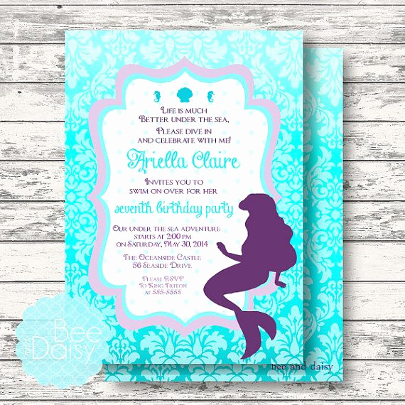 Little Mermaid Invitation Wording Lovely Little Mermaid Invitation for Birthday Party or by