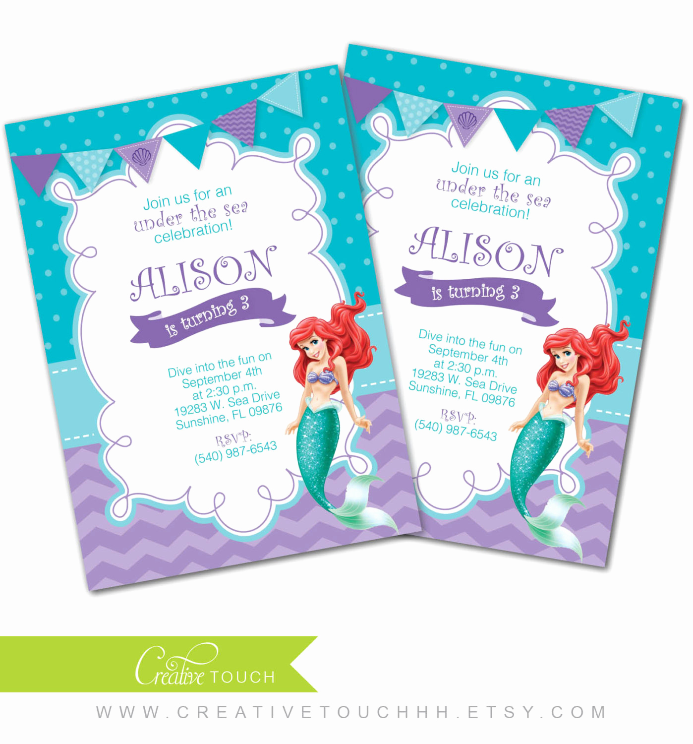 Little Mermaid Invitation Wording Lovely Little Mermaid Invitation Little Mermaid Invite Ariel