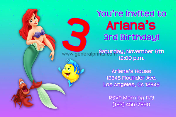 Little Mermaid Invitation Wording Lovely Little Mermaid Invitations Ariel