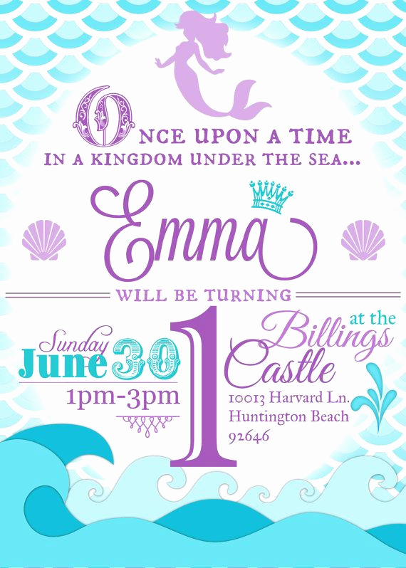 Little Mermaid Invitation Wording Luxury Mermaid Birthday Party Invitation Little Mermaid by