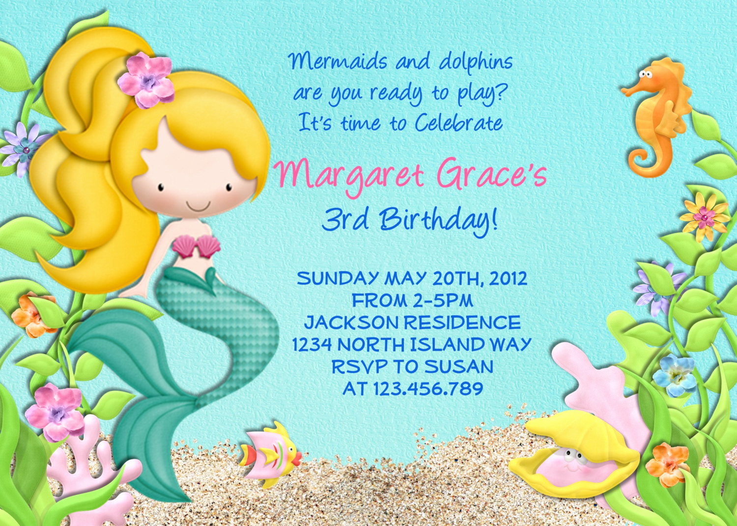 Little Mermaid Invitation Wording Luxury Mermaid Birthday Party Invitations – Free Printable