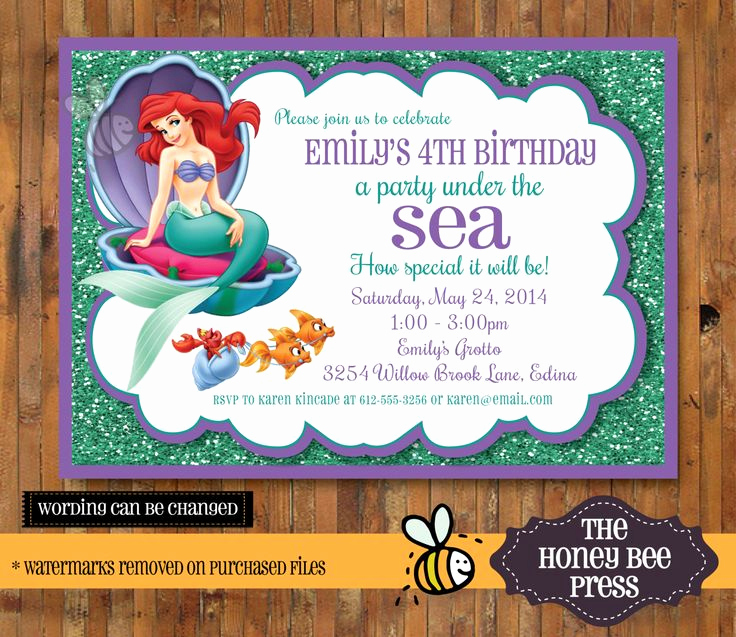 Little Mermaid Invitation Wording New Best 25 Little Mermaid Invitations Ideas On Pinterest