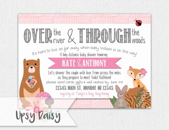 Long Distance Baby Shower Invitation Awesome Long Distance Baby Shower Invitation Girls by